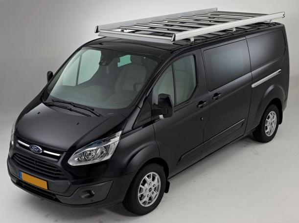 Dachgepäckträger aus Aluminium für Ford Custom, Bj. ab 2012, Radstand 2933mm, Flachdach, mit Hecktüren