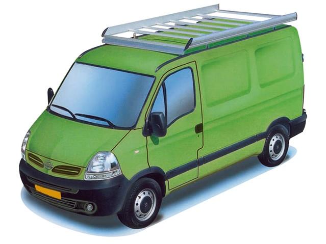 Dachgepäckträger aus Aluminium für Nissan Interstar, Bj. 2002-2010, Radstand 3578mm, Hochdach, L2/H2