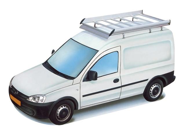 Dachgepäckträger aus Aluminium für Opel Combo, Bj. 2002-2011, Radstand 2716mm, Normaldach, mit Heckklappe