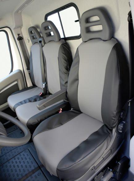 Sitzbezug für Ford Custom, Bj. ab 2012, aus Kunstleder, Einzelsitz (Beifahrersitz) mit Seitenairbag