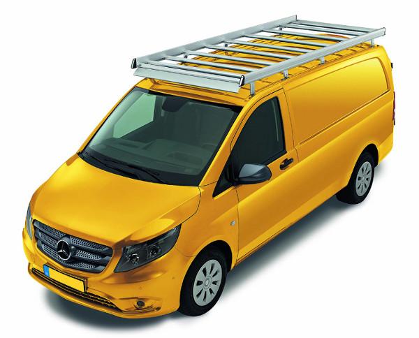 Dachgepäckträger aus Aluminium für Mercedes-Benz Vito, Bj. ab 2014, Radstand 3430mm, extralang, Normaldach, mit Hecktüren