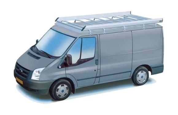 Dachgepäckträger aus Aluminium für Ford Transit, Bj. 2000-2014, Radstand 3750mm, Mittelhochdach