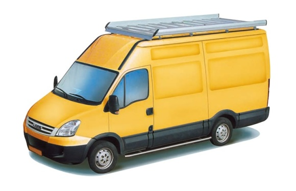 Dachgepäckträger aus Aluminium für Iveco Daily, Bj. 2000-2014, Radstand 3300mm, Laderaumvolumen 12m³
