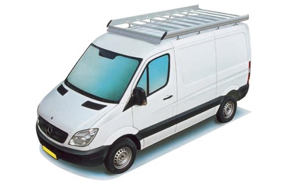 Dachgepäckträger aus Aluminium für Mercedes-Benz Sprinter, Bj. 2006-2018, Radstand 4325mm, Hochdach, ohne Überhang, 2-teilig