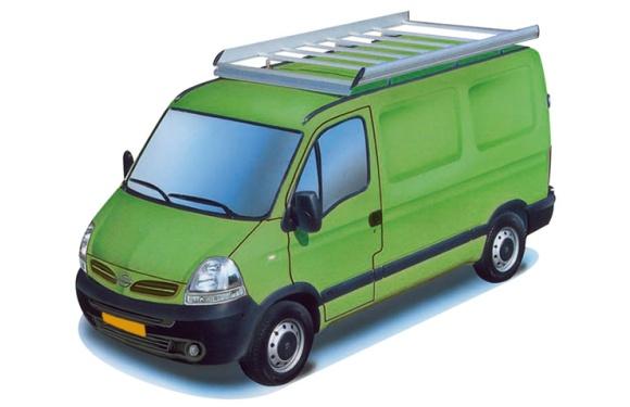 Dachgepäckträger aus Aluminium für Nissan Interstar, Bj. 2002-2010, Radstand 3078mm, Hochdach, L1/H2