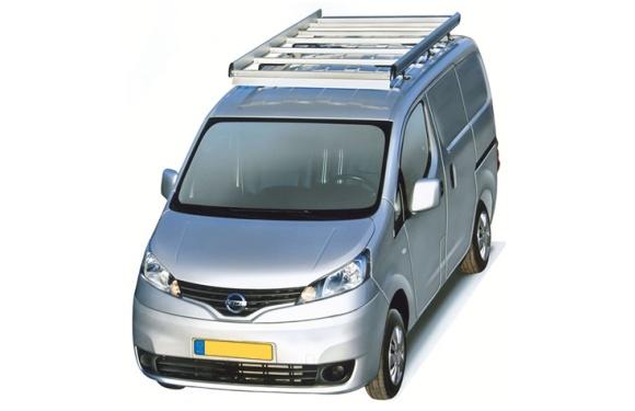 Dachgepäckträger aus Aluminium für Nissan NV200, Bj. ab 2009, Radstand 2725mm, Normaldach, mit Heckklappe
