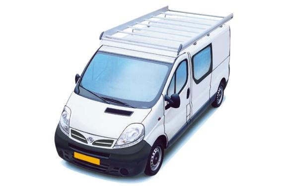 Dachgepäckträger aus Aluminium für Nissan Primastar, Bj. 2003-2015, Radstand 3498mm, Normaldach, L2/H1, mit Heckklappe