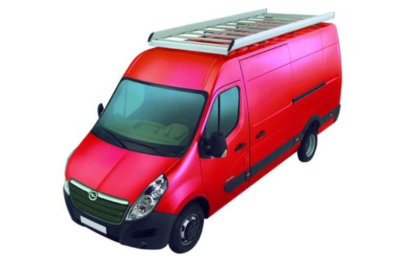 Dachgepäckträger aus Aluminium für Opel Movano, Bj. ab 2010, Radstand 3682mm, Gesamtlänge 6189mm, Heckantrieb, Hochdach, L3/H2, inkl. Befestigungsschienen