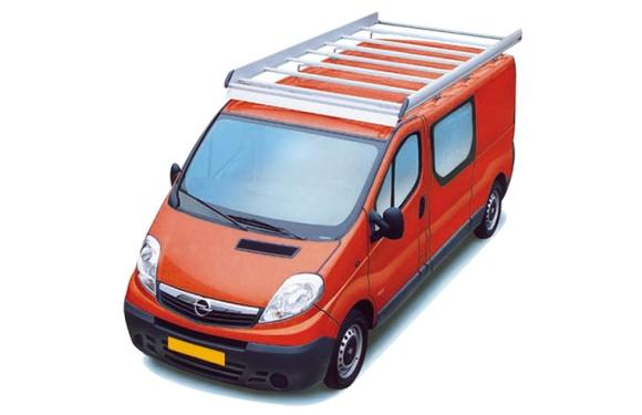 Dachgepäckträger aus Aluminium für Opel Vivaro, Bj. 2002-2014, Radstand 3498mm, Normaldach, L2/H1, mit Hecktüren