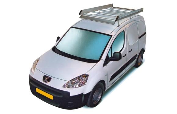 Dachgepäckträger aus Aluminium für Peugeot Partner, Bj. ab 2008, Radstand 2728mm L2, mit Hecktüren, ohne Dachklappe