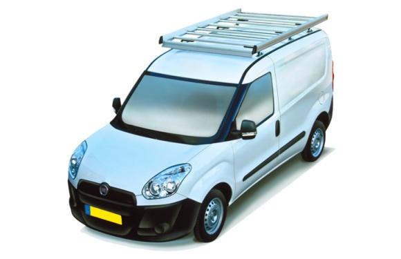 Dachgepäckträger aus Aluminium für Fiat Doblo Maxi, Bj. ab 2010, Radstand 3105mm, Normaldach, mit Hecktüren