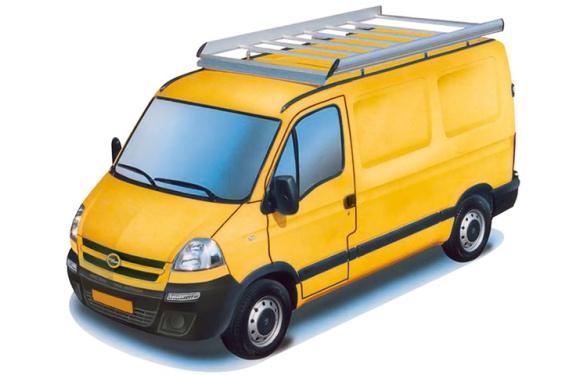 Dachgepäckträger aus Aluminium für Opel Movano, Bj. 1999-2010, Radstand 3578mm, Hochdach, L2/H2
