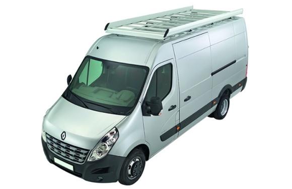 Dachgepäckträger aus Aluminium für Renault Master, Bj. ab 2010, Radstand 3682mm, Gesamtlänge 5548mm, Frontantrieb, Hochdach, L2/H2, inkl. Befestigungsschienen