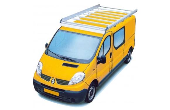 Dachgepäckträger aus Aluminium für Renault Trafic, Bj. 2001-2014, Radstand 3498mm, Normaldach, L2/H1, mit Hecktüren