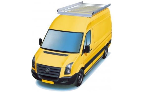Dachgepäckträger aus Aluminium für Volkswagen Crafter, Bj. 2006-2016, Radstand 4325mm, Hochdach, mit Überhang, 2-teilig