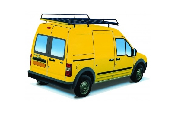 Dachgepäckträger aus Stahl für Ford Connect, Bj. 2003-2013, Radstand 2912mm, Hochdach, mit Hecktüren