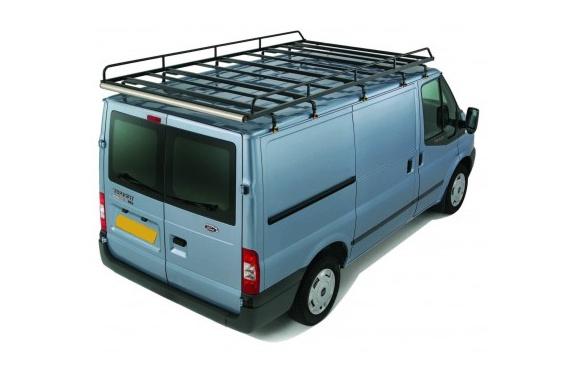 Dachgepäckträger aus Stahl für Ford Transit, Bj. 2002-2014, Radstand 3750mm, Hochdach, verlängerter Laderaum (Großraumkastenwagen)