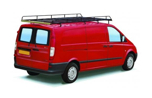 Dachgepäckträger aus Stahl für Mercedes-Benz Vito, Bj. 2003-2014, Radstand 3430mm, extralang, Normaldach, mit Hecktüren