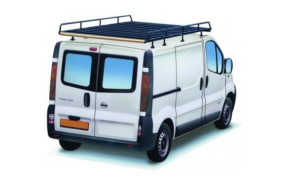 Dachgepäckträger aus Stahl für Nissan Primastar, Bj. 2003-2015, Radstand 3498mm, Normaldach, L2/H1, mit Hecktüren