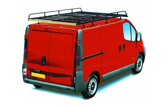 Dachgepäckträger aus Stahl für Opel Vivaro, Bj. 2001-2014, Radstand 3498mm, Normaldach, L2/H1, mit Hecktüren