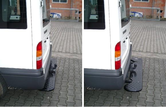 Ausziehbare Hecktrittstufe für Ford Transit, Bj. 2000-2014, ohne Anhängerkupplung, Auspuffendrohr mittig unter dem Fahrzeug