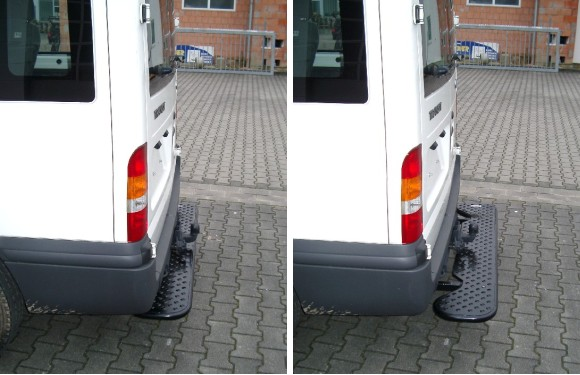 Ausziehbare Hecktrittstufe für Ford Transit, Bj. 2000-2014, für Westfalia-Anhängerkupplung 307260, Auspuffendrohr hinten rechts, Außendurchmesser 55mm