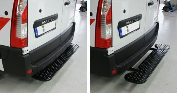 Ausziehbare Hecktrittstufe für Nissan Primastar, Bj. 2003-2015, für Fahrzeuge mit Thule-Anhängerkupplung 4129 (ehem. BRINK)