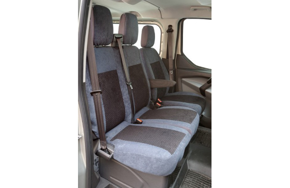 Sitzbezug für Ford Custom, Bj. ab 2012, Alcanta, Doppelbank vorn mit Seitenairbag
