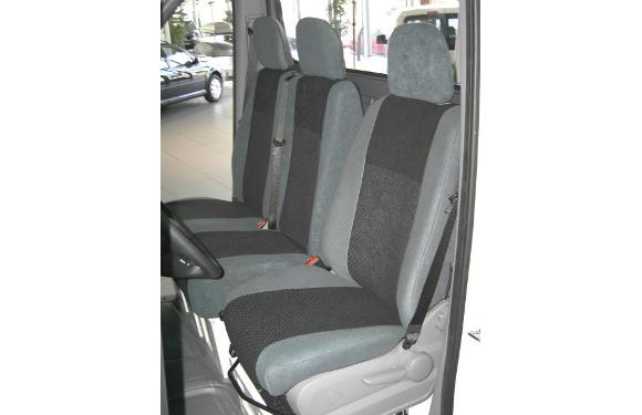Sitzbezug für Volkswagen T5 Transporter & Caravelle, Bj. 2009-2015, Alcanta, Doppelbank vorn, ohne Seitenairbag
