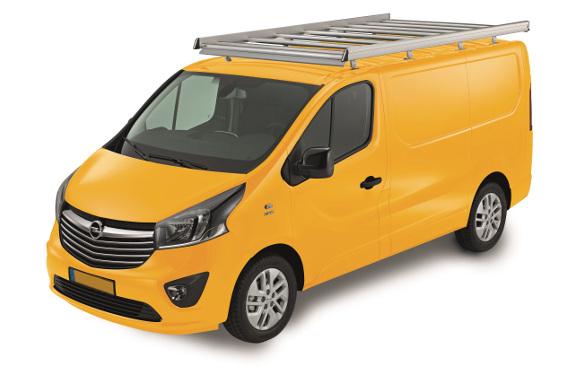 Dachgepäckträger aus Aluminium für Opel Vivaro, Bj. ab 2014, Radstand 3498mm, Normaldach, L2/H1, mit Heckklappe