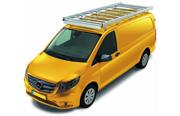 Dachgepäckträger aus Aluminium für Mercedes-Benz Vito, Bj. ab 2014, Radstand 3200mm, kompakt, Normaldach, mit Hecktüren