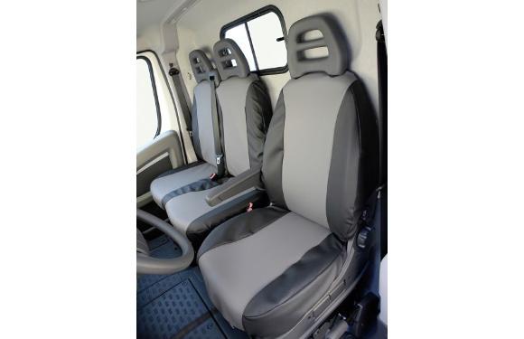 Sitzbezug für Volkswagen T5 Transporter & Caravelle, Bj. 2009-2015, aus Kunstleder, Doppelbank vorn, ohne Seitenairbag