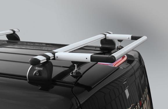 Heckrollen-System für Lastenträger KammBar Mercedes-Benz Vito, Bj. 2003-2014, Radstand 3430mm extralang, Normaldach, mit Hecktüren