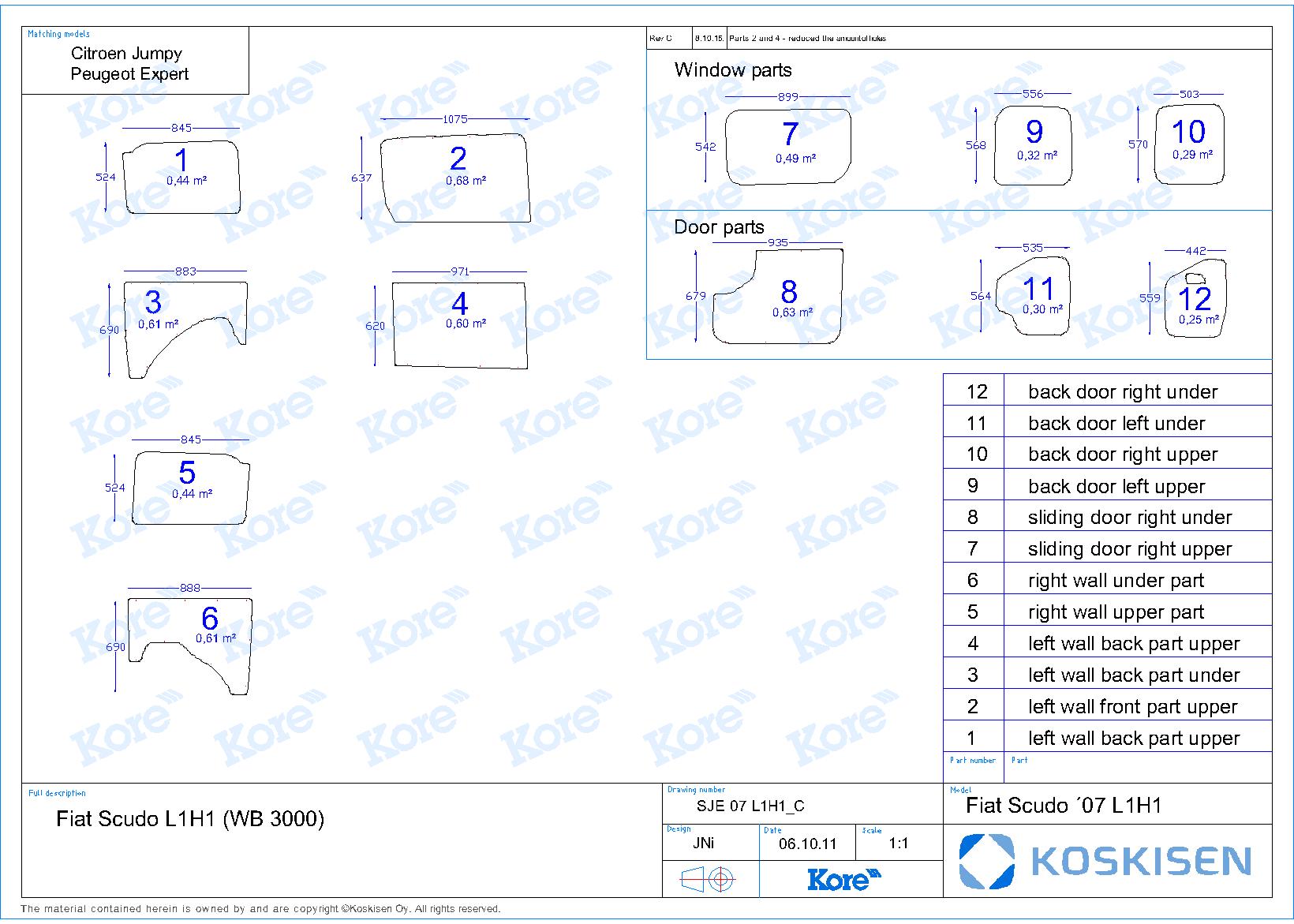 Seitenwandverkleidung für Citroen Jumpy, Bj. 2007-2016
