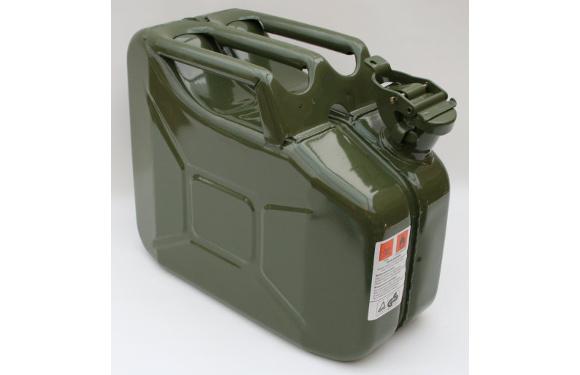 Benzinkanister, 10 Liter, Metall, olivgrün