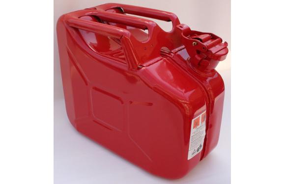 Benzinkanister, 10 Liter, Metall, feuerrot