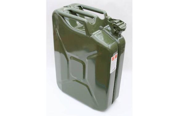 Benzinkanister, 20 Liter, Metall, olivgrün
