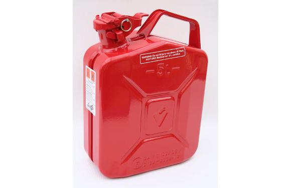 Benzinkanister, 5 Liter, Metall, feuerrot