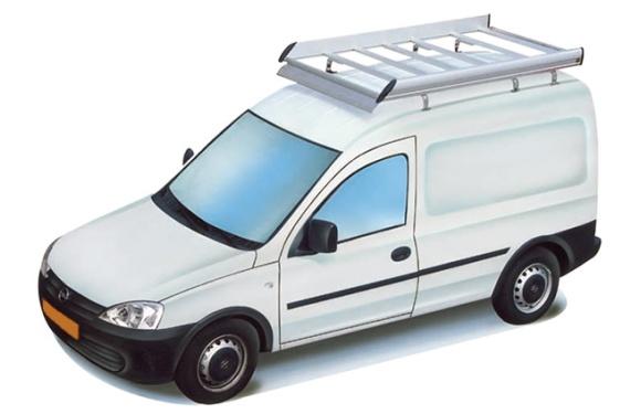 Dachgepäckträger aus Aluminium für Opel Combo, Bj. 2002-2011, Radstand 2716mm, Normaldach, mit Hecktüren