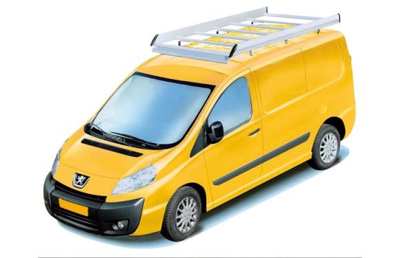 Dachgepäckträger aus Aluminium für Peugeot Expert, Bj. 2007-2016, Radstand 3000mm, Normaldach, mit Hecktüren