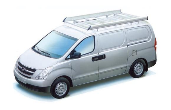Dachgepäckträger aus Aluminium für Hyundai H1, Bj. ab 2008, Radstand 3200mm, Normaldach, mit Hecktüren