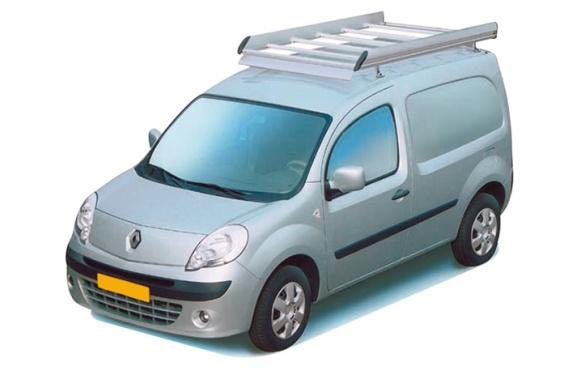 Dachgepäckträger aus Aluminium für Renault Kangoo, Bj. ab 2008, Radstand 2697mm, mit Hecktüren, ohne Dachklappe
