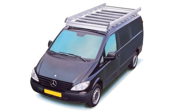 Dachgepäckträger aus Aluminium für Mercedes-Benz Vito, Bj. 2003-2014, Radstand 3200mm, kompakt, Normaldach, mit Hecktüren