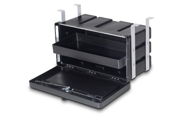 Unterbau-Werkzeugkasten, BxHxT: 650x350x330mm, 2-Punkt-Verriegelung mit Sicherheits-Drehriegel